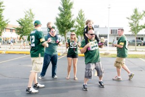 Dancing at Family Fun Night - District Event Center - Packers tailgate party